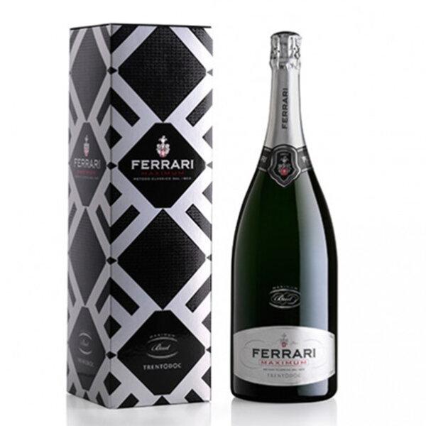 Пенливо вино Ферари Лунели Максимум Брут Магнум с подаръчна кутия NV, 1.5л.