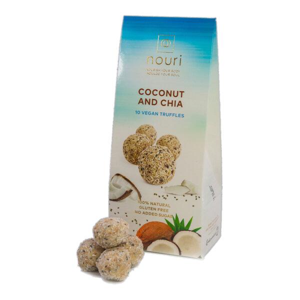 Здравословни веган бонбони Nouri трюфел с кокос и чия 10бр.