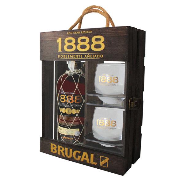 Ром Brugal 1888 в дървена кутия с две чаши 700ml.