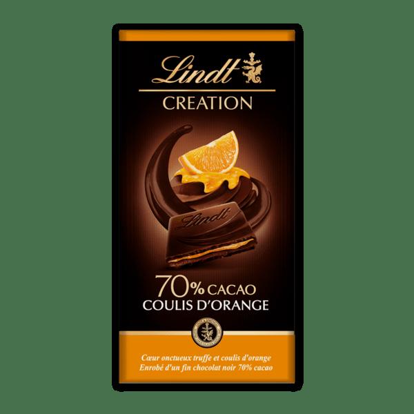 Шоколад Lindt Криейшън мус портокал 70% 150 гр.