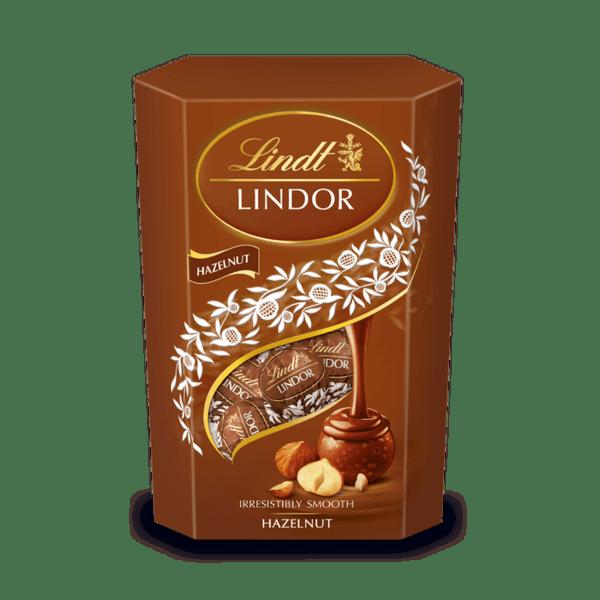 Шоколадови бонбони Lindt Линдор Корнет Асорти лешник 200 гр.
