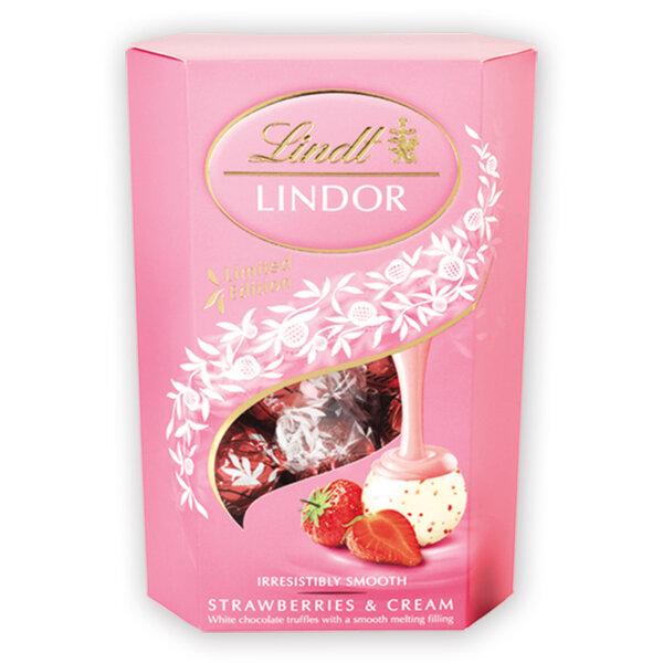 Шоколадови бонбони Lindt Линдор Корнет ягода и сметана 200 гр.