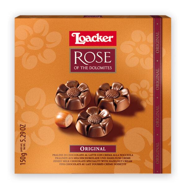 Шоколадови бонбони Loacker бонбониера Роза млечен шоколад 150 гр.