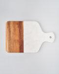 Дъска за рязане от дърво и бял мрамор, плато за аперитиви