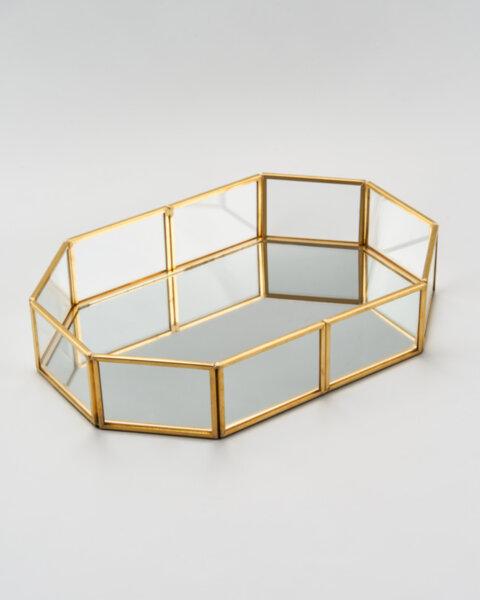 Стъклена поставка за грим, бижута, обеци, пръстени и колиета - Glam поднос