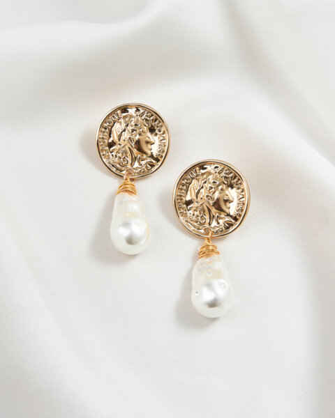 Обеци с монетка и перла Athens