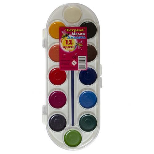 Бои акварелни ESTRELA - 12 цвята