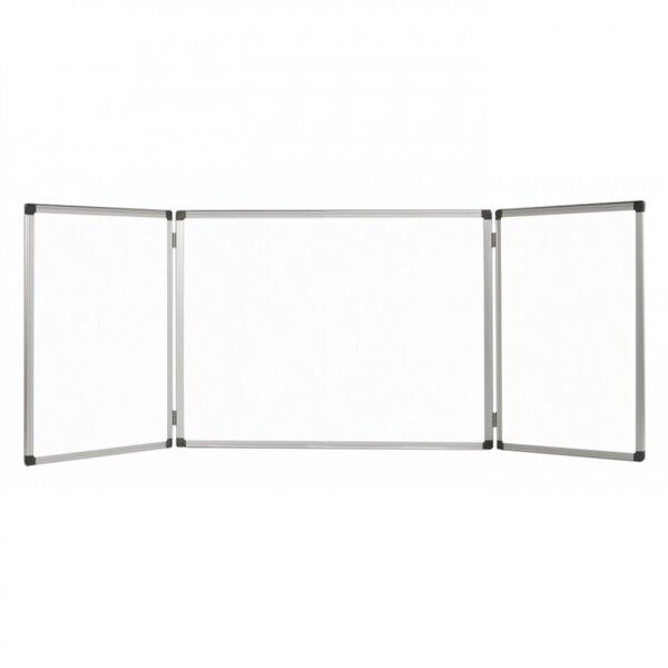 Бяла магнитна дъска Bi-Office Maya тройна, 480x120 см, сгъната 240x120 см, алуминиева рамка