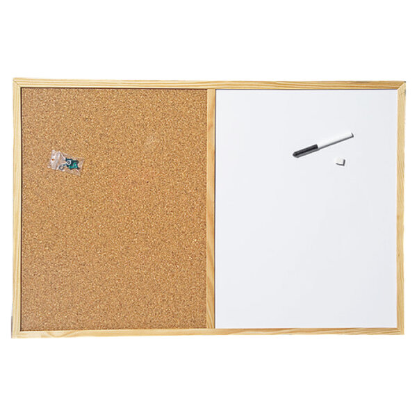 Бяла и коркова дъска с дървена рамка, CORK NATUR - 60х90 см.