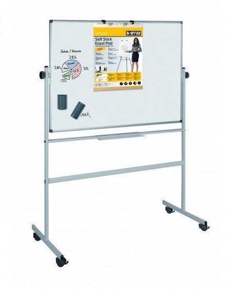Бяла, магнитна, въртяща дъска, с алуминиева рамка, BI-OFFICE, размер - 90x120 см.