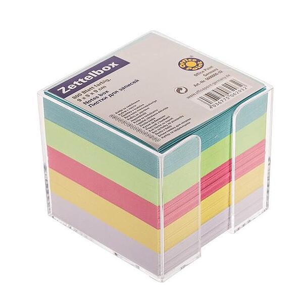 Хартиено кубче OFFICE POINT незалепено, с поставка, 85x85 mm 800 л. цветен микс