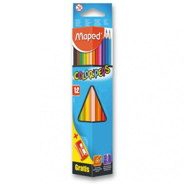 Цветни моливи с острилка MAPED - 12 цвята