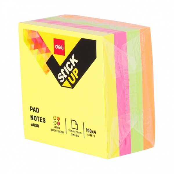 Самозалепващо кубче DELI stick up ea03003,76 мм х 76 мм, 4 цвята, неон, 400 л