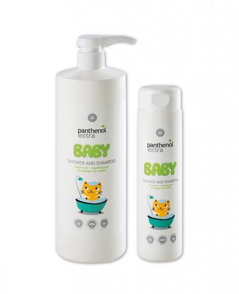 Бебешки шампоан и душ гел 2 в 1 Panthenol Extra Baby, 300 и 1000ml