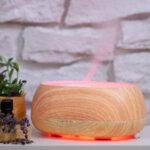 """Арома дифузер Мохана """"Ароматна мъгла"""", цвят дървесен, с дистанционно"""