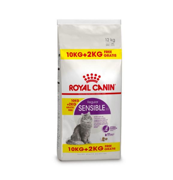 ROYAL CANIN® SENSIBLE - пълноценна суха храна за котки в зряла възраст над 12 месеца с чувствителна храносмилателна система с гратис 2 кг.