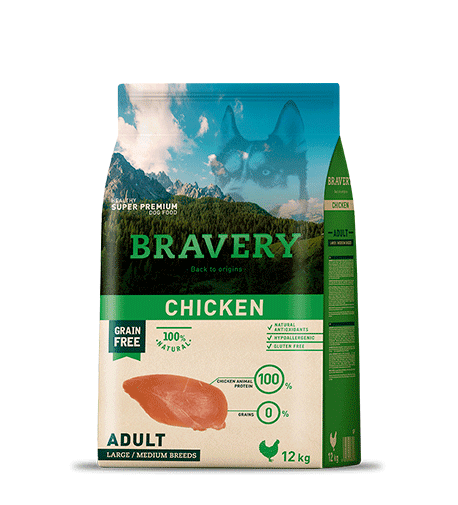BRAVERY@MEDIUM&LARGE CHICKEN - За израснали кучета от средни и едри породи с пилешко.