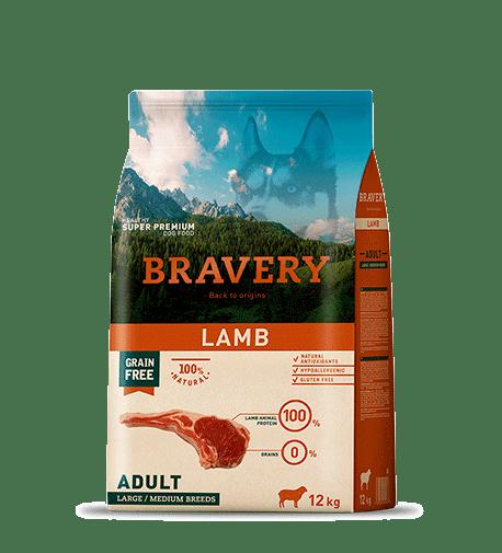 BRAVERY@MEDIUM&LARGE ADULT LAMB - За израснали кучета от средни и едри породи с агнешко.