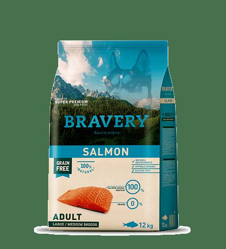 Bravery@ Medium&Large Adult Dog With Salmon - За израснали кучета от средни и едри породи със сьомга.