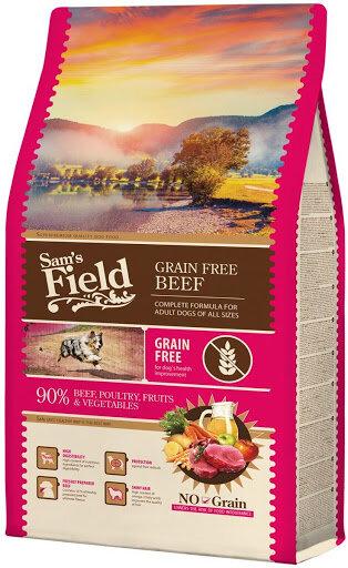 SAM'S FIELD GRAIN FREE BEEF - Пълноценна храна, БЕЗ зърнени култури за пораснали кучета с говеждо месо.