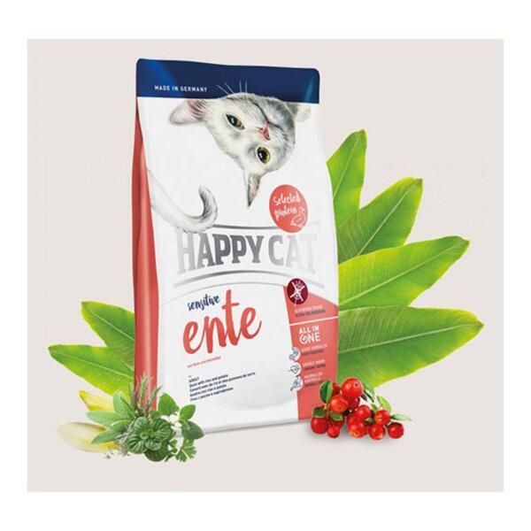 Happy cat@ Sensitive Duck - суха храна за чувствителни котки с патешко.