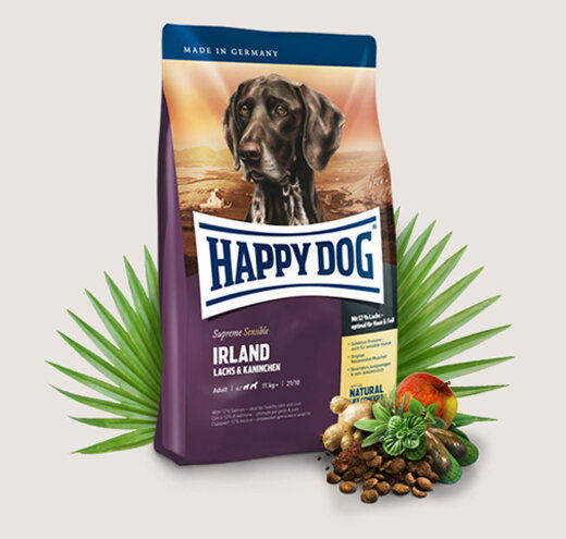 Happy dog@ Supreme Sensible Irland - суха храна за чувствителни кучета със сьомга и заешко.