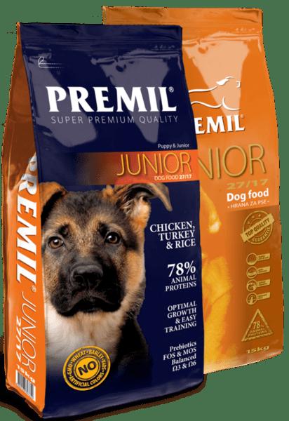 Premil Junior For Large Dogs 27/17 -суха храна за подрастващи кученца от едри породи с пилешко и патешко месо 15 кг.