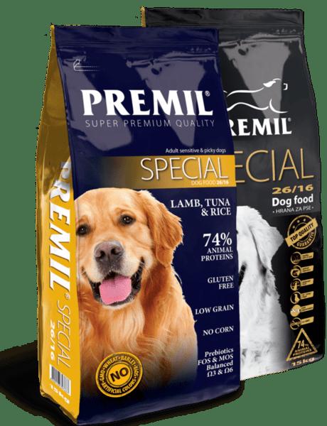 Premil Dog Special 26/16 - суха храна за кучета от всички породи с капризен апетит с агнешко месо и ориз 15 кг.