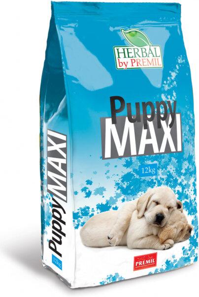 Premil Puppy Maxi- суха храна за подрастващи кученца от едри породи с риба тон, пуешко и патешко месо 12 кг.