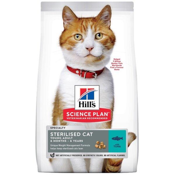 Hill's Science Plan Sterilised Cat Young Adult With Tuna - Пълноценна суха храна с риба тон за млади кастрирани котки от 6 месеца до 6 години.