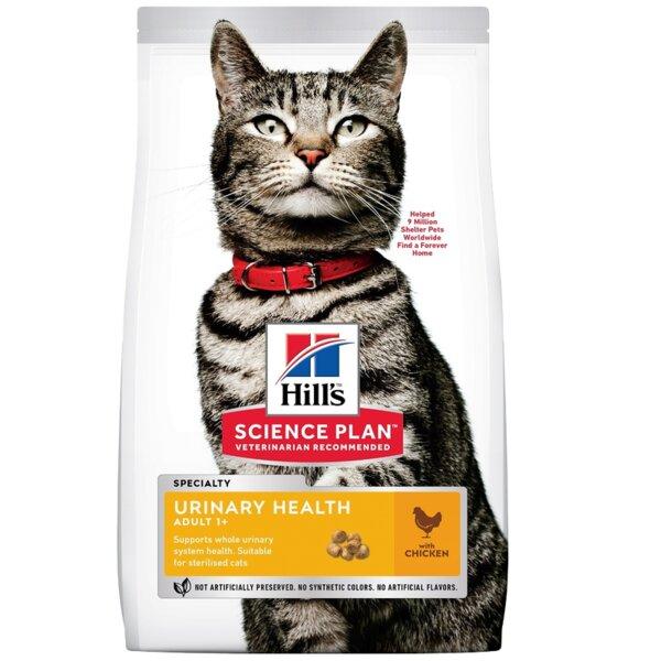 Hill's Science Plan Urinary Health Adult - Пълноценна суха храна с пилешко за котки над 1 година за профилактика и поддържане на уринарния тракт при котки в добро здравословно състояние.