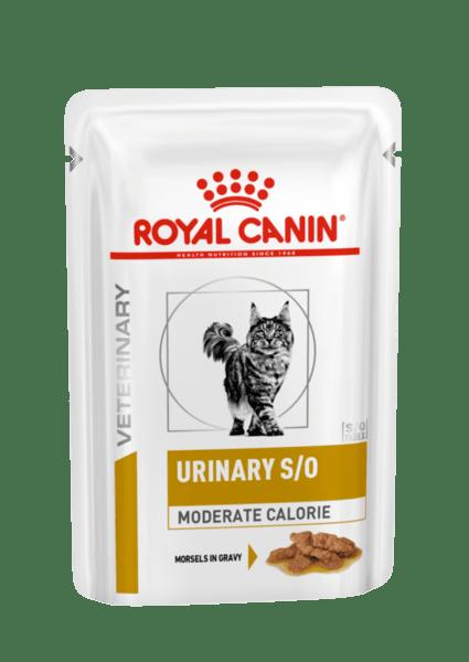 Royal Canin@ Urinary S/O Moderate Calorie Cat - консервирана ниско калорийна лечебна храна за котки предназначена за разтваряне на струвитни камъни.