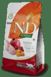 N&D Pumpkin Adult Cat Quail  - Пълноценна храна с пъдпъдък, тиква и нар за котки в зряла възраст.