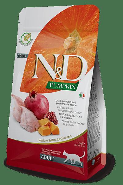N&D Pumpkin Cat Adult With Quail & Pomegranate  - Пълноценна храна с пъдпъдък, тиква и нар за котки в зряла възраст.