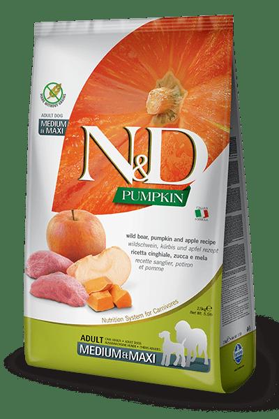 N&D Pumpkin With Boar & Apple Medium&Maxi Adult - Пълноценна храна с глиганско, тиква и ябълка за кучета от средни и едри породи в зряла възраст.