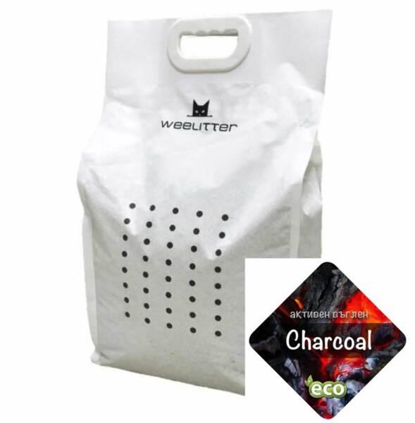 Weelitter@ Charcoal - Екологична котешка тоалетна от соя с аромат на активен въглен.