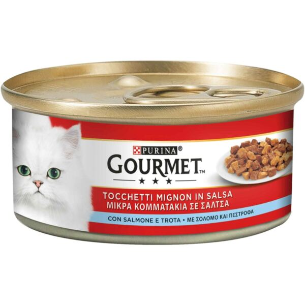 Purina@ Gourmet Slices In Sauce With Salmon And Trout - Гурме резенчета в сос със сьомга и пъстърва 195 гр.