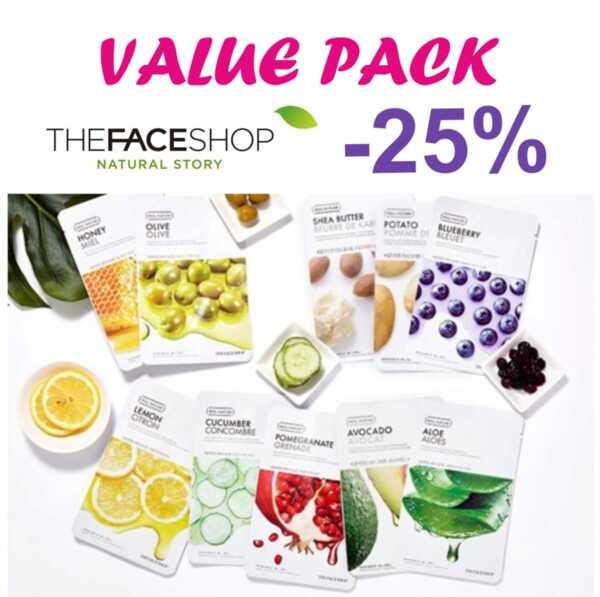 THE FACE SHOP Real Nature - 10 бр. маски, различни видове