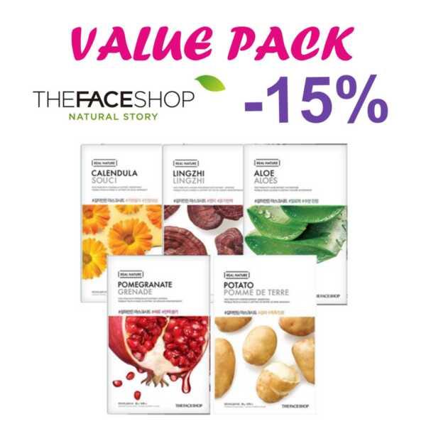 THE FACE SHOP Real Nature - 5 бр. маски, различни видове