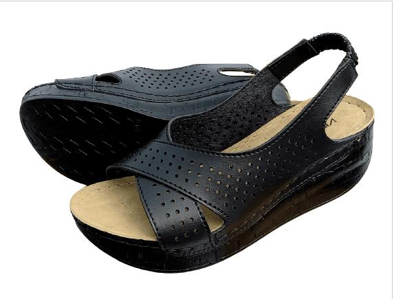 Черни дамски сандали с уокмакс ходило