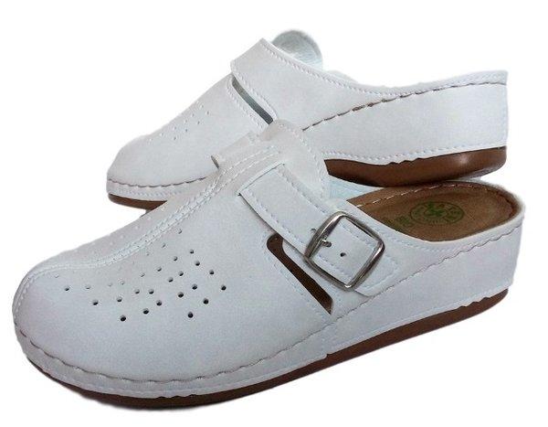 Анатомични дамски чехли FATEX, шити и лепени, бели