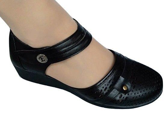 Черни дамски отворени обувки Езел със стелка comfort