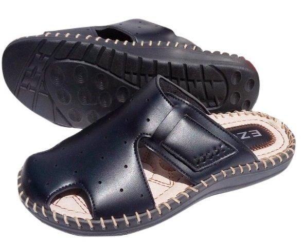 Черни мъжки чехли EZEL, шити и лепени, със стелка от естествена кожа