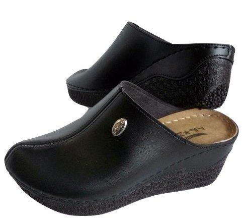 Анатомични дамски черни чехли VIP*STAR Comfort в голям размер