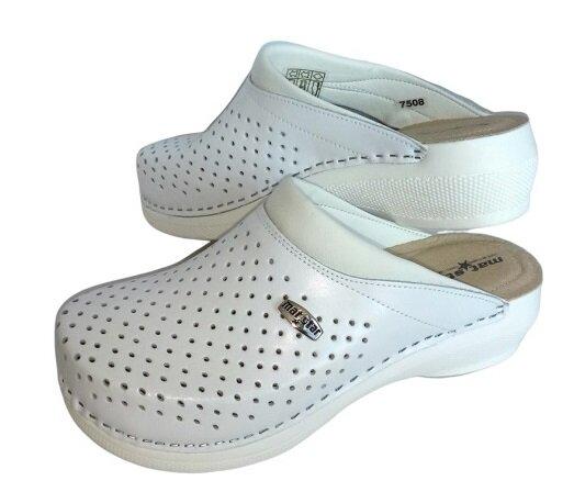 Медицински дамски чехли от естествена кожа, с антишок технология на ходилото