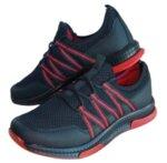 Мъжки олекотени маратонки WANDERFULL, с мрежа и червени ленти
