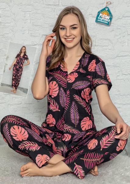 Памучнa дамскa пижамa с копчета