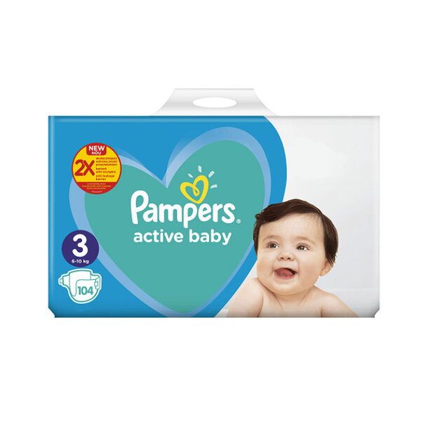 Pampers giant pack + 3  -  6-10 кг. 98/104 бр.