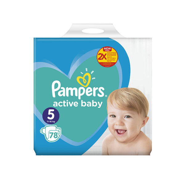 Pampers giant pack + 5  -  11-18 кг. 68/72 бр.