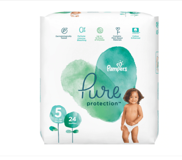 Pampers Pure Protection 5, 11 кг+, 24 броя